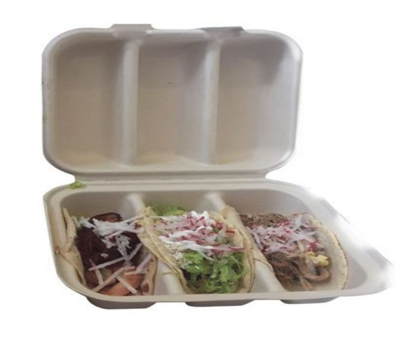 3 Compartment Fiber Taco Clamshell Container
