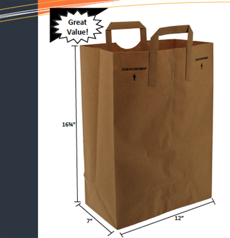1-6th Barrel Handle Paper Sack by Duro Bag