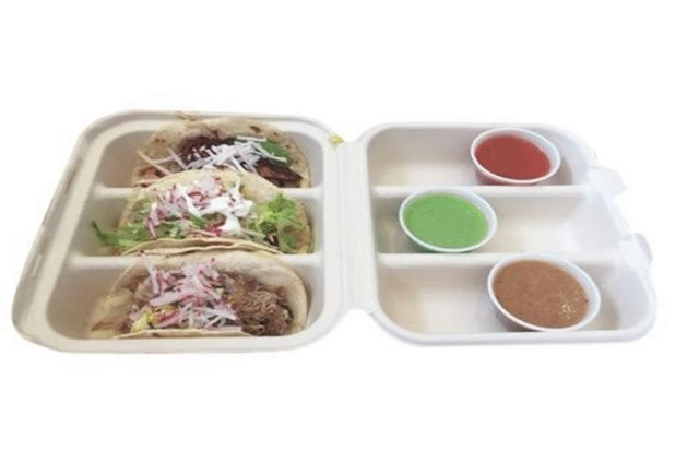 Three Compartment Fiber Taco Clamshell Container